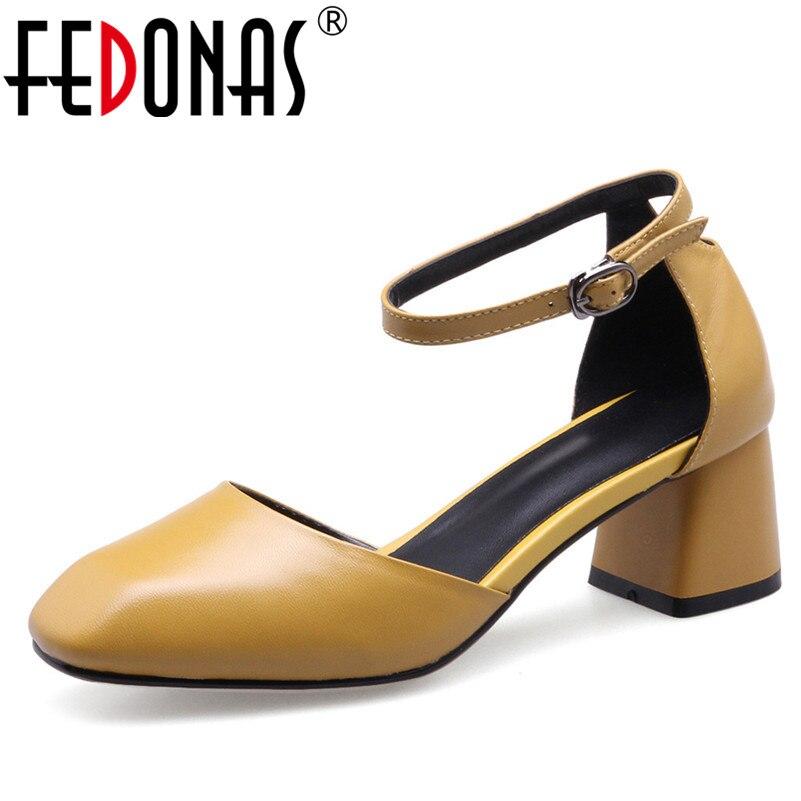 FEDONAS Mary Jane Women Genuine Leather Shoes Woman Buckles New Four Season Shoes High Heels Pumps