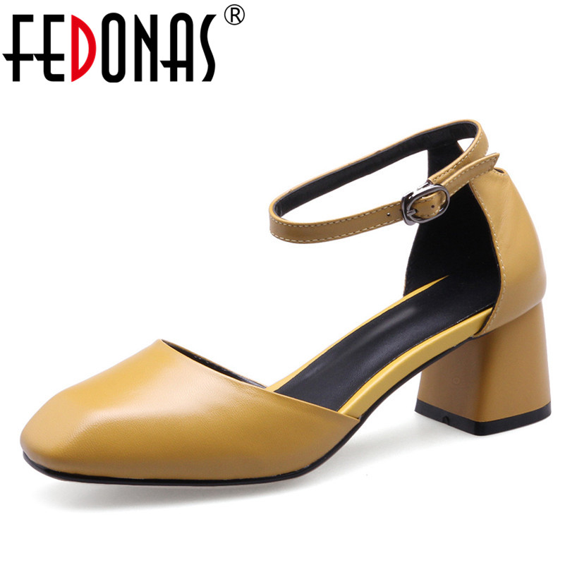 FEDONAS Mary Jane Women Genuine Leather Shoes Woman Buckles New Four Season Shoes High Heels Pumps Classic Brand Office Pumps fedonas new arrival gray pink women low heels casual shoes comfortable four season pointed toe loafers shoes woman
