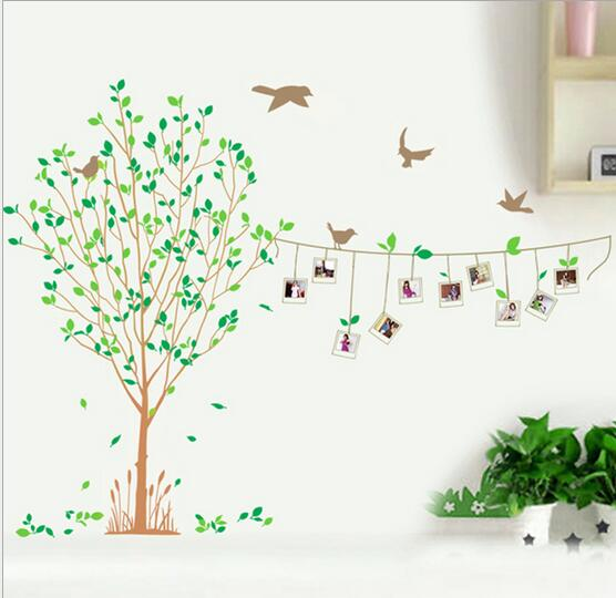 DIY 115cm*87cm Photo Frame Tree Bird Removable Vinyl Wall Sticker Decal Mural Home Decoration natural wind LM8001