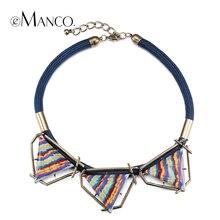 Collar geométrico triángulo pintado resina gargantilla collares nuevo 2016 cuerda collar corto retro de la vendimia mujeres eManco