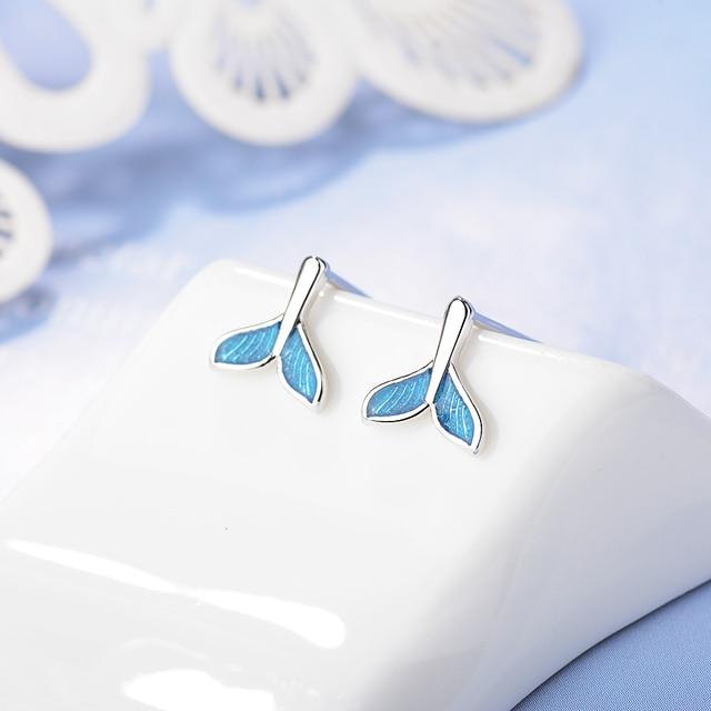 Pendientes Todorova de ballena azul y Delfín con cola de sirena para mujer, pendientes de boda, pendientes perforados