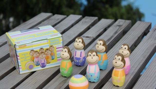 Los niños de dibujos animados de madera bola de bolos juego juguetes/Niños juguetes de bolos Infantil clásico incluye 6 monos y 1 bolas, envío gratis