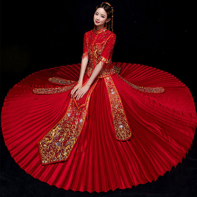 Luxurious Rhinestone Bling Pleated Dress Gorgeous Slim National style Wedding Cheongsam Ancient Classic Red Tassel Marriage Suit