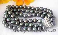 Z2859 beautiful 3row 8 9mm black round freshwater pearl bracelet