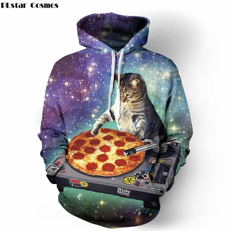 PLstar Cosmos DJ Cat Hoodie Men 3D Printed Pizza Space Galaxy Hoodie Sweatshirt Pullover Sportwear Tracksuit Men
