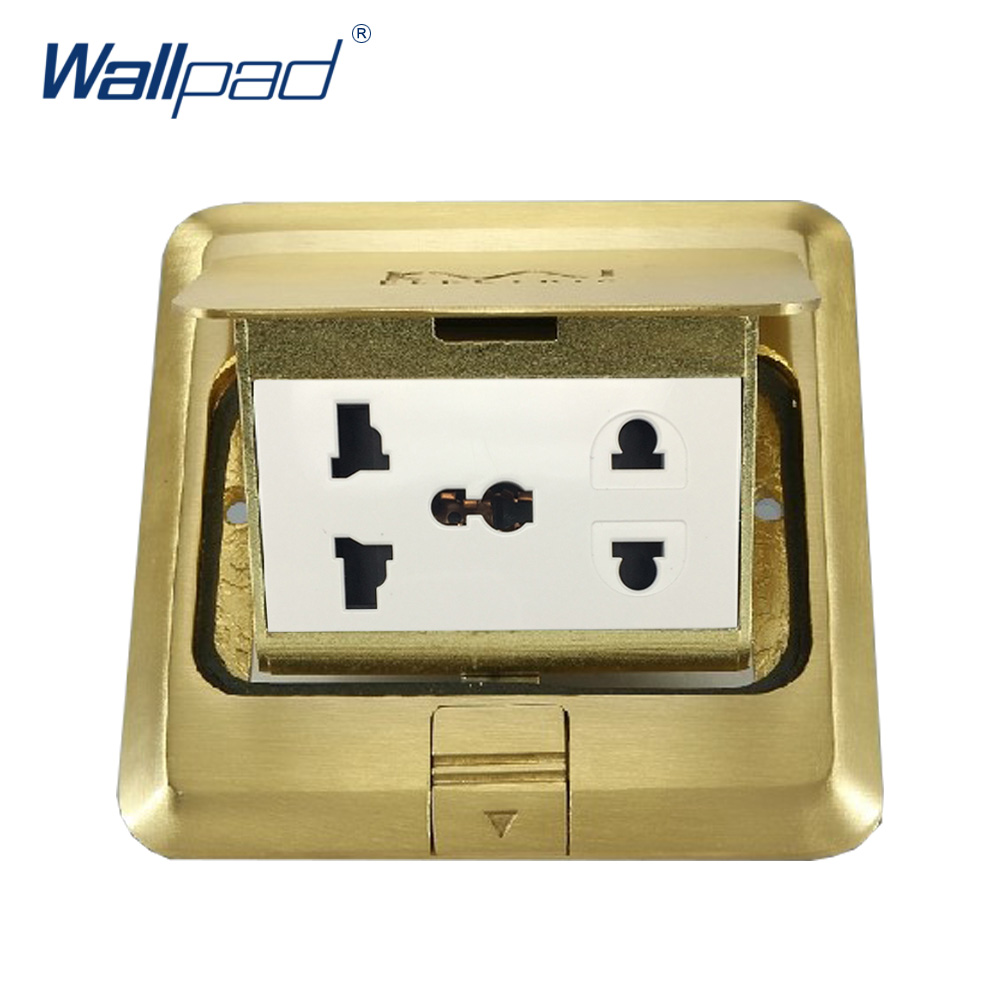 5 Pin Universal Floor Socket Wallpad Luxury Copper and SS304 Panel Damping Slow Open For Ground With Mouting Box AC110-250V wallpad luxury copper and ss304 panel us 6 pin floor socket damping slow open for ground with mouting box ac110 250v