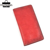 Environmental Genuine Natural Cow Leather Unisex Women Ultrathin Clutch Wallet Handmade Female Male Card Purse Lady Long Wallet