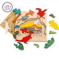 Educational Kid Toy Multi Layer 3D Wooden Dinosaur Dolphin Polar Bear Animals Puzzles Baby Kids Creative