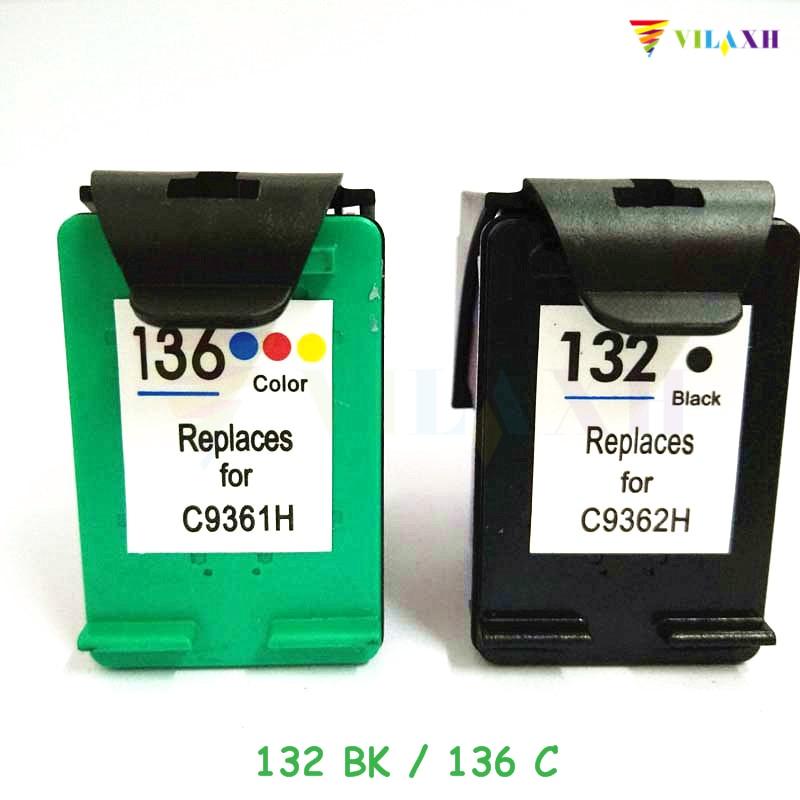 vilaxh 132 136 Penggantian Ink Cartridge Tinta Serasi untuk HP 132 - Elektronik pejabat