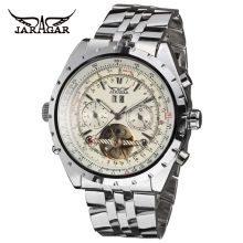 цена на JARAGAR Fashion Big Dial Auto Date Stainless Steel Band Chronograph Men Automatic Mechanical Tourbillon Watch