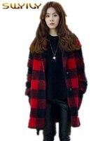สีแดงลายสก๊อตเสื้อขนสัตว์2016ฤดูหนาวเสื้อกันหนาวชุดใหม่ส่วนยาวหลวมแจ๊กเก็ตหญิงสลักทำด้วย...
