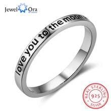 I Love You To The Moon and Back 925 anillos de plata esterlina para mujer, joyería, anillos de compromiso, regalo (JewelOra RI102759)
