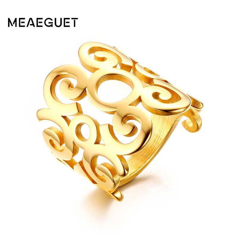 Meaeguet Wanita Cincin Stainless Steel Pesona Jari Knuckle Bunga Berongga Out Band Cincin Emas-Warna Mode Cocktail Jewelry 2017