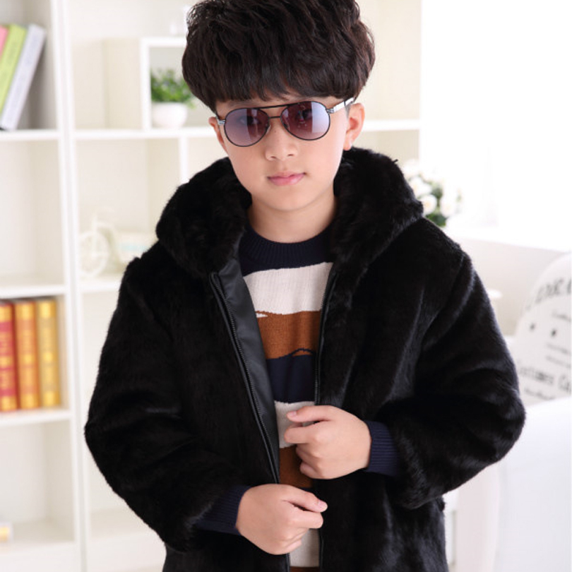 2017 Children Mink Hair Fur Coat Winter Warm Fashion Long Stlye Solid Suit Collar Clothing for Boys Full Jacket for a Boy T005 2017 winter new clothes to overcome the coat of women in the long reed rabbit hair fur fur coat fox raccoon fur collar