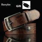 Mask as Gift Vintage genuine leather belt men luxury designer brand belt cowhide belt waist belt metal pin buckle
