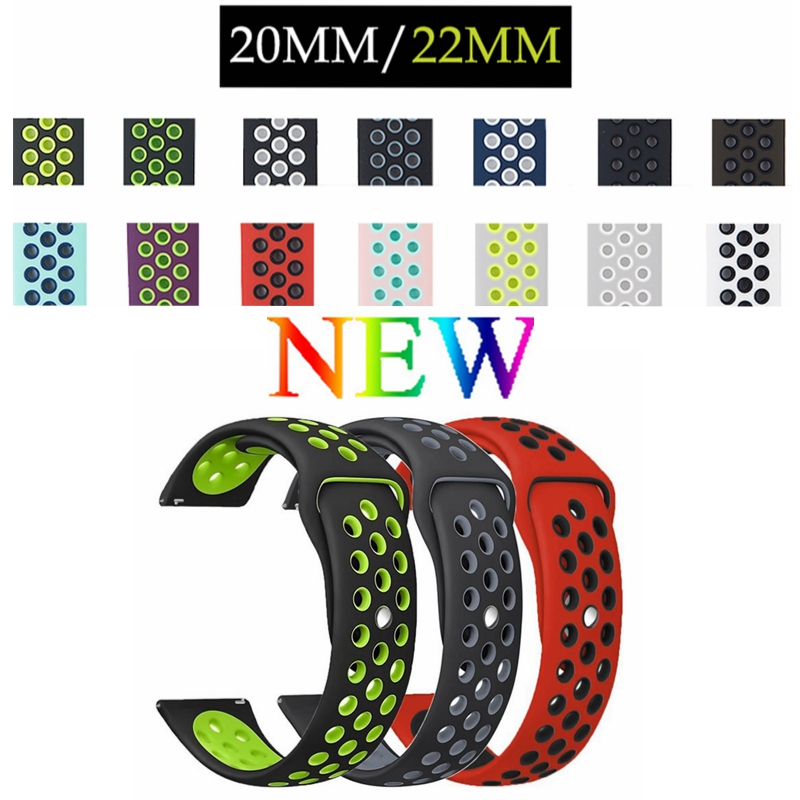 20MM 22MM Silicone Replacement Band Strap For Samsung Gear S3/Moto 360 2nd Gen 46mm/Ticwatch Pro/ZenWatch 2 WI501Q/Ticwatch E