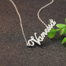Solid Silver Cut Nameplate Necklace Women Name Pendant Jewelry Christmas Gift Wholesale