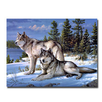 diamond embroidery fantasy Wolf on the snow in moscow beadwork decorative crystal home diamond mosaic pattern The icon