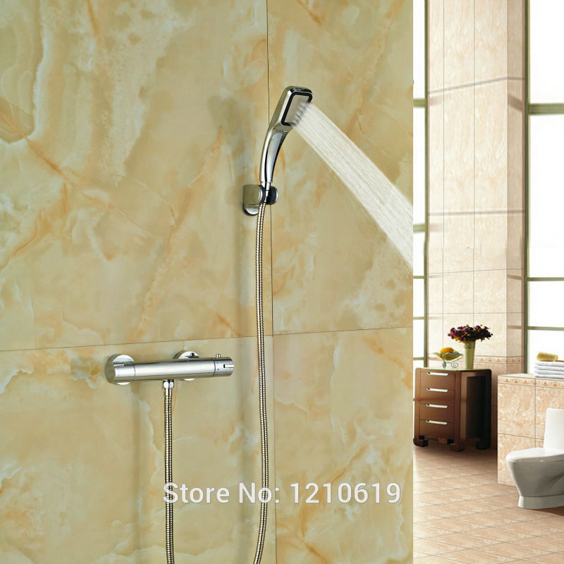 цена на Newly Chrome Finish Simple Thermostatic Shower Set w/ Handheld Sprayer Shower Faucet Tap Wall Mount