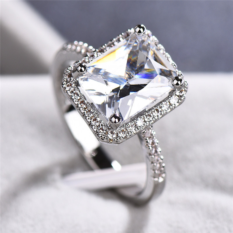 Cute Luxury Female Fashion Promise Love Cut Huge CT White Zircon 925 Silver Colorring Engagement Rings Wedding Party Rings 6-10