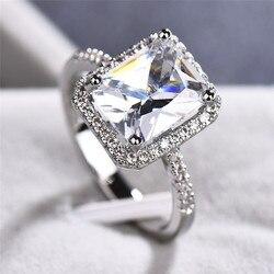 Sevimli lüks kadın moda Promise aşk kesim büyük CT beyaz zirkon 925 gümüş Colorring nişan yüzükleri düğün parti yüzükler 6 -10