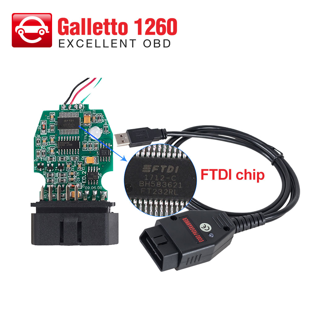US $10 99 30% OFF|Galletto 1260 ECU Chip Tuning Tool EOBD/OBD2 ECU Flasher  with FTDI FT232RL Chip ECU connectors with multi languages-in Car