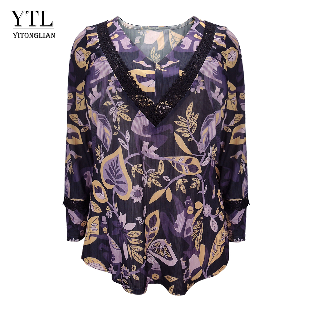 Women Tree Print Pattern V Neck Lace   Blouse     Shirt   Plus Size Long Sleeve Casual Ladies Tops Oversize Clothes 6XL 7XL 8XL H169