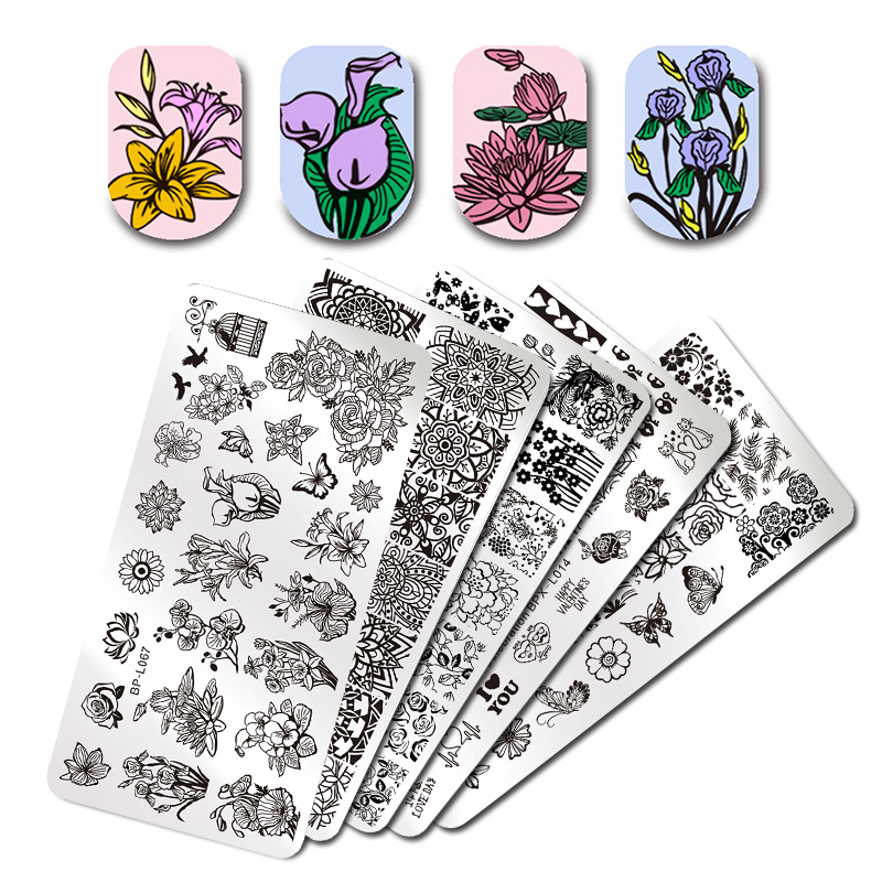 Various Flower Pattern Rectangle Nail Stamp Image Plate BORN PRETTY Floral Design Stamping Template