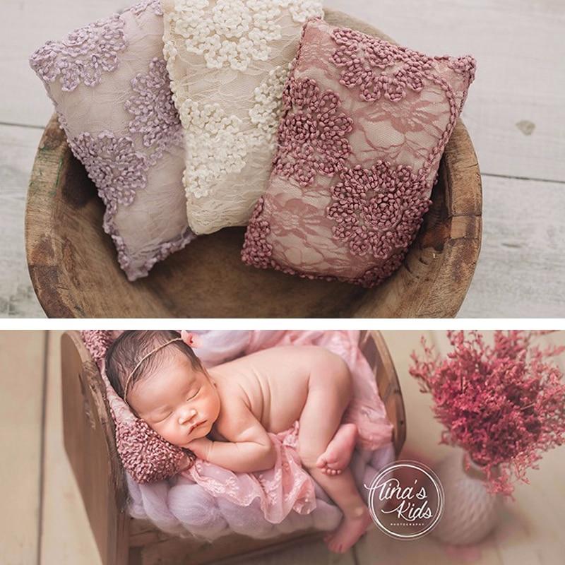 Baby Newborn Photography Lace Pillow Basket Filler Square Posing Props Newborn Bebe Posing Infant Studio Photo Shoot Props недорого