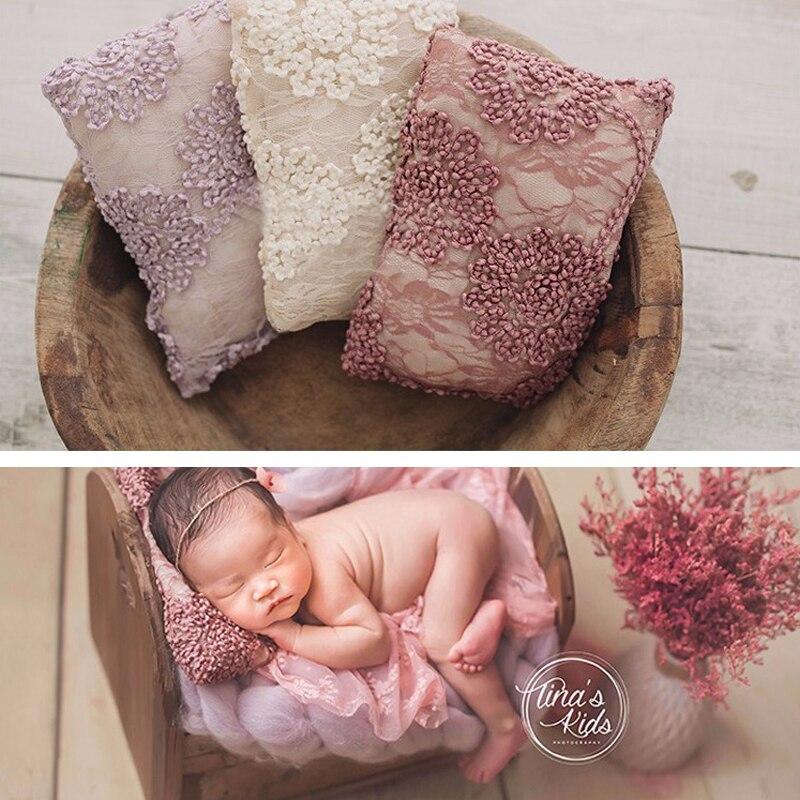 Bébé nouveau-né photographie dentelle oreiller panier remplisseur carré posant accessoires nouveau-né Bebe posant infantile Studio Photo Shoot accessoires