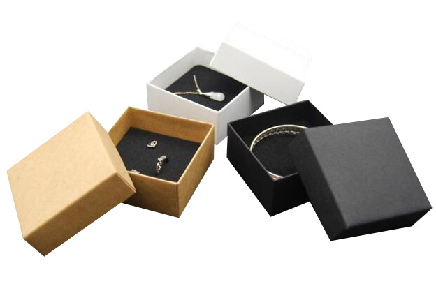 700g kraft White Box Black Necklace Packaging Kraft Paper Packing for Jewelry Ring wholesale 50cs lot