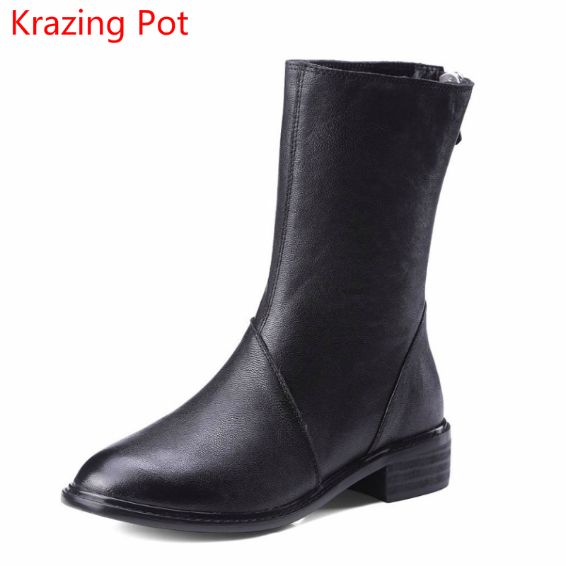 2018 New Arrival Genuine Leather Fashion Winter Boots Zipper Thick Heel Handmade Runway Superstar Sexy Women Mid-Calf Boots L9f1 new fashion superstar brand winter shoes embroidery snow boots tassel women mid calf boots thick heel causal motorcycles boots
