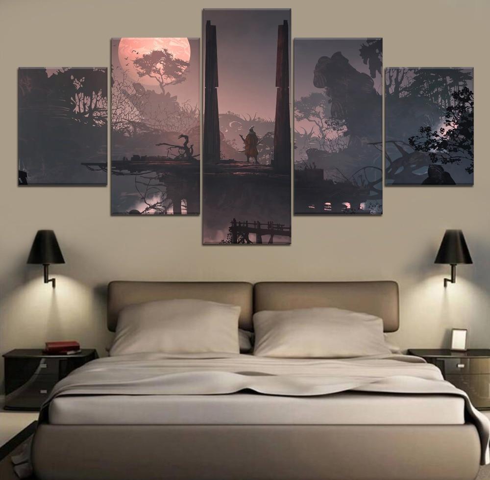 Sekiro Shadows Die Twice Game 5 Piece Paintings Wall Art HD Print Home Modern Decor Canvas Painting Room