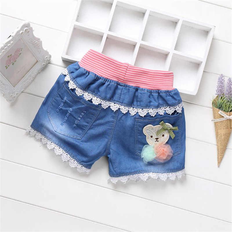 eeeecdb25 V-TREE encaje Girls Denim Shorts verano dibujos animados impreso Jeans para  niña niños Sequin pantalones cortos playa pantalones ropa de los niños