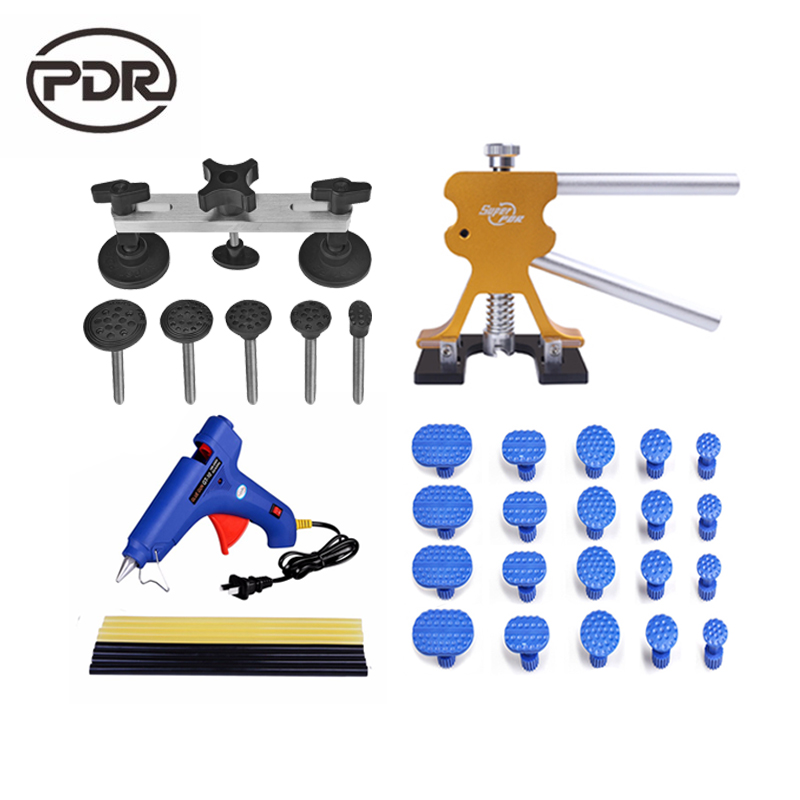 PDR Tools Dent Removal Paintless Dent Repair Tools Dent Puller Kit Dent Lifter Puller Tabs Pulling Bridge Herramentas pdr rods kit with slider hammer dent lifter bridge puller set led line board glue stricks pro pulling tabs kit for pop a dent