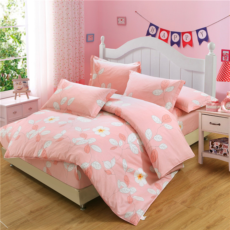 4Pcs Pink bedding set duvet cover bed fitted sheet home textile twin full queen California king size flower bedspread pillowcase4Pcs Pink bedding set duvet cover bed fitted sheet home textile twin full queen California king size flower bedspread pillowcase