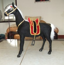 big simulaiton black horse toy polyethylene&fur new horse doll gift about 45x46cm