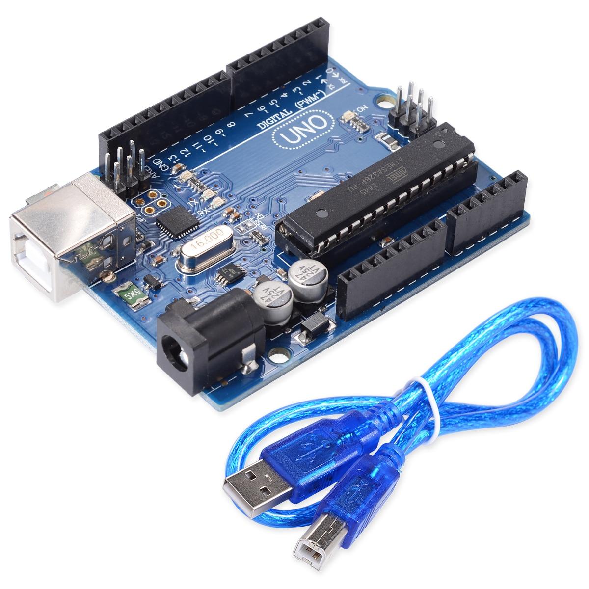 10 pcs UNO R3 pour Arduino (sans LOGO) MEGA328P ATMEGA16U2 avec câble