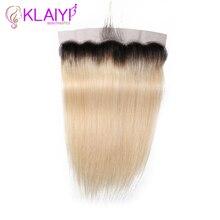 Заколки для волос из 13x4 кружева Фронтальная застежка бразильские прямые волосы фронтальной Remy человеческие волосы T1B/613 уха до Фронтальная застежка часть