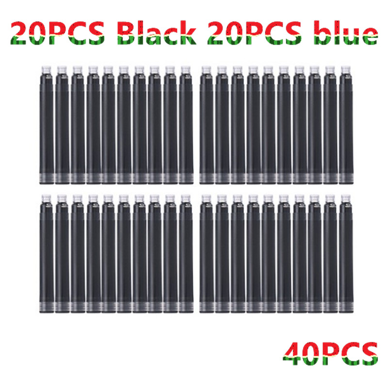Wholesale Price 40PCS Disposable Blue and Black Fountain Pen Ink Cartridge Refills Length Fountain Pen Ink Cartridge Refills
