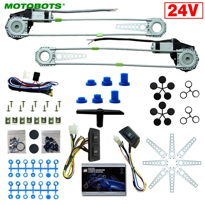 MOTOBOTS 1Set DC24V Car/Truck Front 2-Doors Electric Power Window Kits With 3pcs/Set Switches & Harness #AM4064