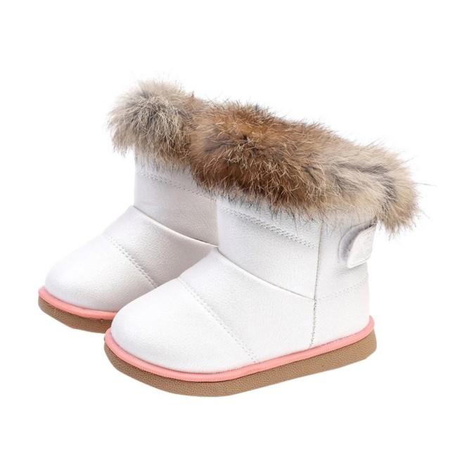 Moda 2017 baby girl shoes cuero de algodón de invierno muchachas de los bebés niño shoes martin arranque en caliente shoes chaussure gran