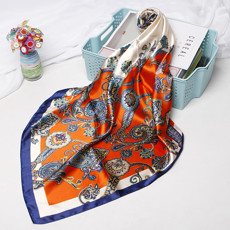 2019 Floral Print Head Scarf For Women Silk Satin Hijab Scarfs Orange Red 90*90cm Square Neckerchief Headband Scarves For Ladies