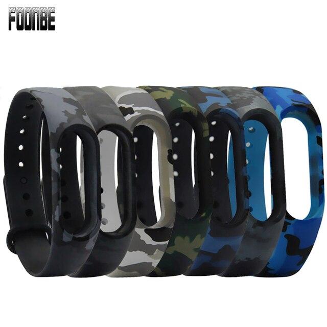 Camouflage bleu chaud pour mi bande 2 sangle remplacer la bande pour Xiao mi Bracelet intelligent Silicone sangle ceinture pour mi bande 2 Bracelet