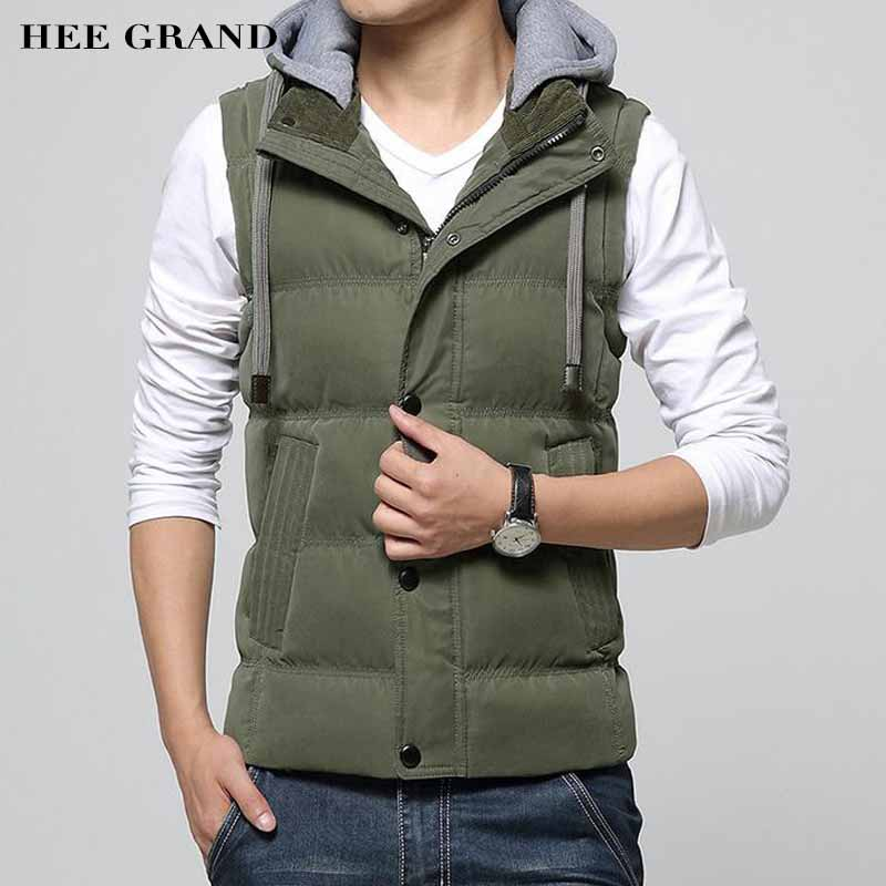 HEE GRAND Men Fashion Thick Vest Stand Collar With Detachable Hats Cotton Material Warm Winter Stylish