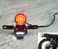 Retro motorcycle Round CNC LED Tail Lamp Rear light license bracket modified custom universal for Cafe Racer GN