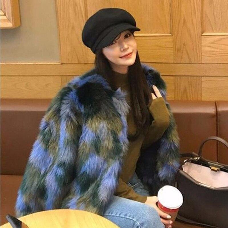 Slim Poilu Courte Longues Fit Femme As Long Picture Élégant Faux Manteau Contraste Hiver 2018 Shaggy Fourrure De Veste À Manches Couleur awSIq