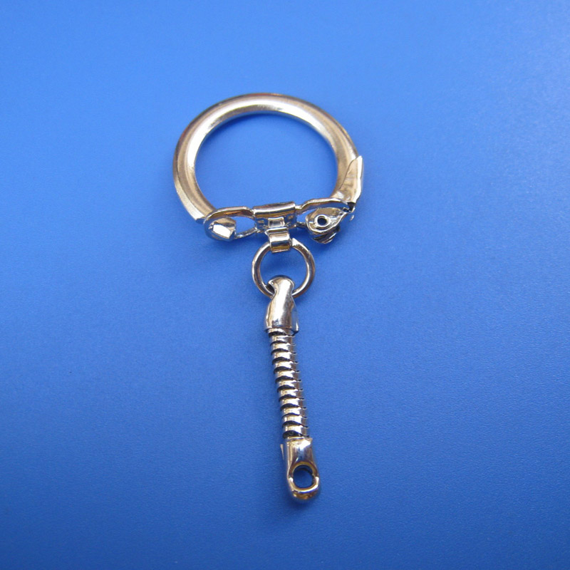 30PCS 6x2.3CM DIY Jewelry Snake Chains Key Rings Silver Tone Key Chain Buckle For Making Special Keychain Accessories Wholesale