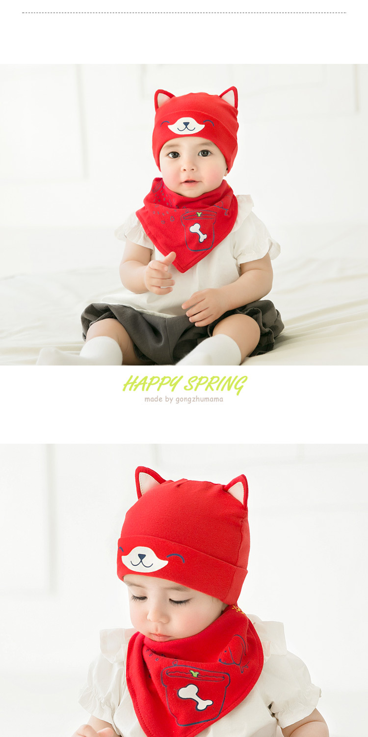 2pcslot Baby infant Winter Hat & Scarf Baby Winter Cap Children Warm Scarf For Boys Suit dog Hats Scarfs For Girl Boy Newborn (3)