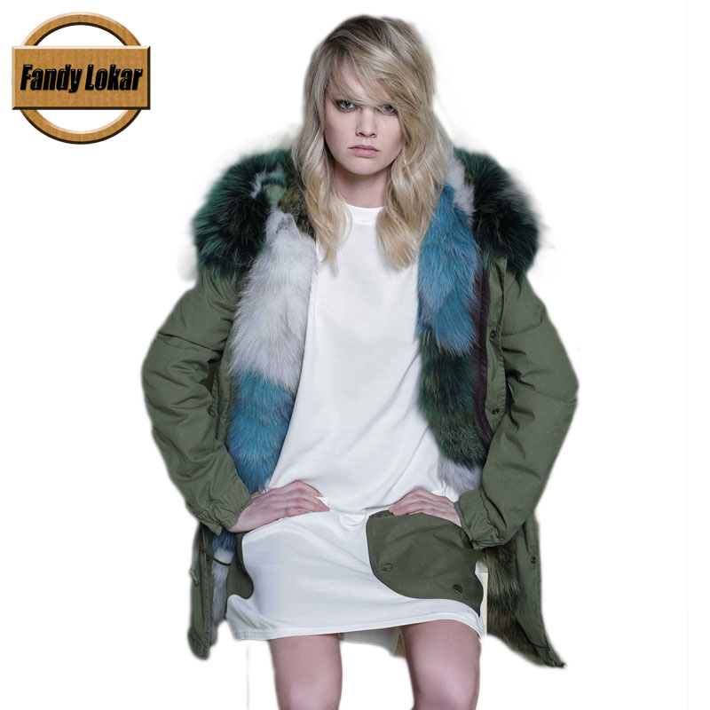 Warm Raccoon Fur Collar Coat Women Winter Real Fox Fur Liner Loose Warm Jacket With Hat Women Army Bomber Parka 2017 winter new clothes to overcome the coat of women in the long reed rabbit hair fur fur coat fox raccoon fur collar